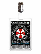 Resident Evil Umbrella Zombie Response Team ID Badge Cosplay Prop Comic Con