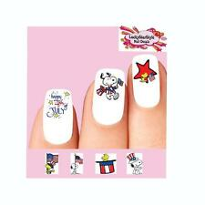 Waterslide Nail Decals Set of 20 - Happy 4th of July Snoopy Woodstock Assorted