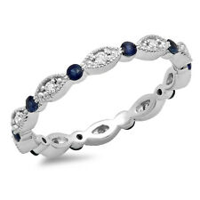 0.40 CT 10K White Gold Blue Sapphire And White Diamond Wedding Eternity Band