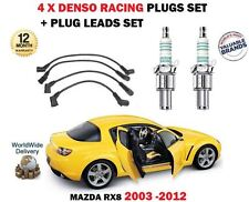 FOR MAZDA RX8 1.3 2003-2012 DENSO IRIDIUM 4 SPARK PLUGS + IGNITION LEADS SET