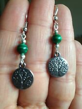 Earrings Tree Life Silver Malachite Hippie Ethnic Boho Festival Tribal Bohemian