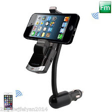 Car Bluetooth Handsfree FM Transmitter USB Charger MP3 Player Phone Mount Holder