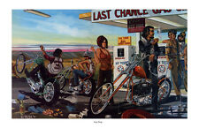 Dave Mann Ed Roth Studios Print Poster Gas Stop Motorcycle Chopper