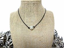White Pearl Black Genuine Leather Cord Pearl Knot Choker Necklace with Extension