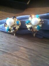 18ct gold, pearl, jade, turquoise and garnet stunning  earrings GENUINE stones