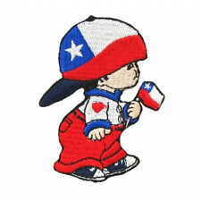 CHILE LITTLE BOY COUNTRY FLAG IRON-ON PATCH CREST BADGE SIZE: 3 X 2 INCH .. NEW