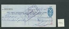 wbc. - CHEQUE - CH132 - USED -1950s  - FNCB of NEW YORK - BERKELEY SQ. LONDON
