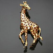 Iconic CARTIER Enamel Emerald 18k Yellow Gold Giraffe Brooch