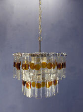 VINTAGE MODERNIST 60s 70s ITALIAN STYLE MAZZEGA ERA FROSTED GLASS CHANDELIER