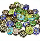 CL147p Assorted Color Handmade Cloisonne 17mm Flat Round Coin Bead 10/pkg
