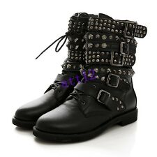 Womens Low Heels Buckle Strap Lace Up Rivet Studded Combat Ankle Boot Plus Size
