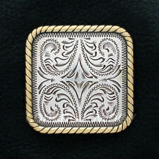 """Western Saddle Antique Silver Gold Rope Edge Square Concho 1"""" screw back"""