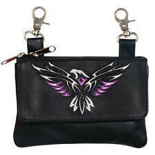 Leather Tribal Eagle Embroidered Ladies Clip Pouch Purse Biker Motorcycle Rocker