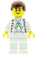 Custom Minifigure Boy with Easter Bunny T-Shirt Machine Printed on Lego Parts