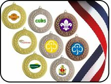 BEAVERS CUBS SCOUTS RAINBOWS BROWNIES GIRL GUIDES METAL MEDAL FREE RIBBON