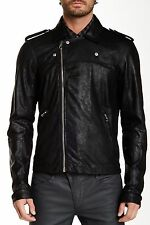 Joe's Jeans Moto Jacket Brushed Leather Asymmetrical Zip Front Black XL Nwt $495