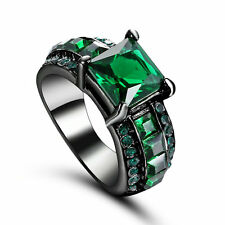 Women Gift Emerald Gemstone 10kt Black gold filled Fashion Jewelry Ring Size 6