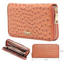 Aitbags Ostrich Grain Leather Women Wallet Purse Credit Card Clutch holder Case