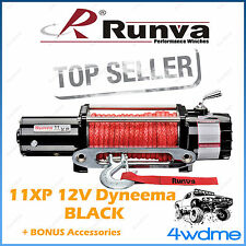 RUNVA 11XP BLACK 11000lbs/4990kgs 12V W/DYNEEMA ROPE Recovery Winch + Extras 4WD