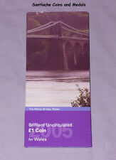2005 ROYAL MINT SPECIMEN £1 COIN IN FOLDER - Menai Straits Bridge Design