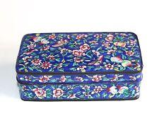 Vintage Chino cantón Esmalte Azul en Caja Con Tapa De Cobre Motivo Floral Mariposas