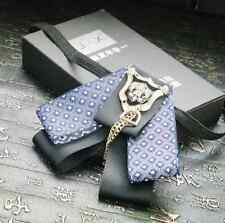 Vintage Black Blue Ribbon Wedding Groom Mens Adjustable Bow Tie Brooch Clip