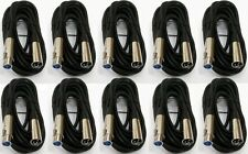 10 Pcs 15FT XLR 3Pin Male Female Microphone Audio Mic Cord Shielded Cable 15 Ft