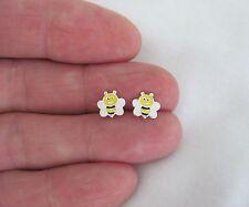 Sterling Silver 8mm delicate bee women girl post stud earrings.
