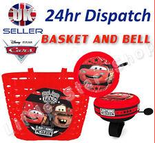 DISNEY Cars Boy's Kids BICI CICLO Shopping Cesto anteriore e allarme ad Anello Bell