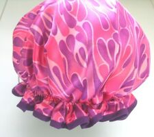designer QUALITY SHOWER CAP SATIN IN PINKS MAUVES PURPLES  water proof
