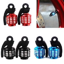 Wow 4 Pcs Grenade Design Tire Tyre Valve Dust Caps Car Motorcycle Bike Bicycle