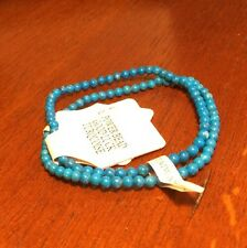 "2 ANKLETS- Handmade Power Bead 10"" Turquoise Color- #ANK 12- LOVELY BN"