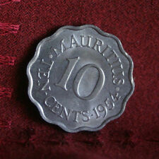 1954 Mauritius 10 Cents Copper Nickel Unc World Coin KM33 Queen Elizabeth
