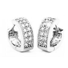 Luxury Platinum Plated Earrings Silver Tone Girl Women White Zircons Hoops E884