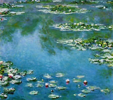 Oil painting Claude Monet - Water-Lilies flowers in pond canvas
