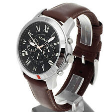 **NEW** MENS FOSSIL GRANT BLACK CHRONO BROWN LEATHER WATCH - FS4813 - RRP £109
