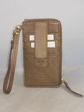 Fossil Metallic Bronze AMANDA L Zip Card Case Leather Wristlet SWL1292 839 $55