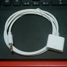 AUX 3.5mm Male to 30-pin Female for iPod iPhone Dock Adapter Cable White