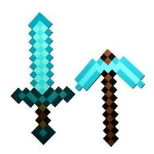 Craft Sky Blue Role Play Prop Diamond EVA Foam Sword & Pickaxe Mine Toy
