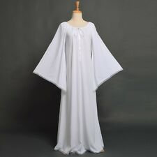Renaissance Medieval Dress Chemise Ruffled Neckline Lace up Robe Gown White L