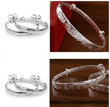 New 1 pair baby 925 sterling silver bracelet with bell baby kid child bracelet