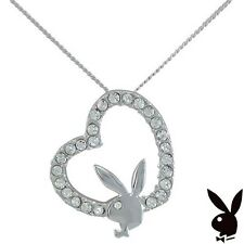 VALENTINES DAY Sterling Silver Playboy Necklace Bunny Open Heart Pendant Crystal