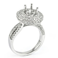 18k White Gold Diamond Halo Engagement Ring Setting  1.45 TDW Size 6.5