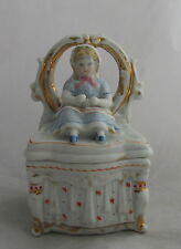 Antique Victorian German Conta Boehme Fairing Box Girl Sitting Vanity