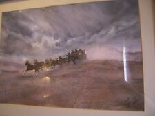 Watercolor Painting of Horses & Coach a Run Through Desert Signed Todd Ahern