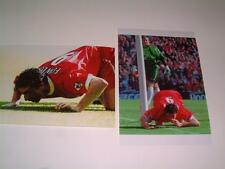 Liverpool FC legend Robbie Fowler sniffing the line v Everton FC photographs