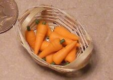 1:12 Scale 10 Carrots In A Basket Dolls House Vegetable Kitchen Food Accessory