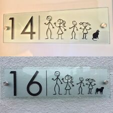 MODERN HOUSE SIGN PLAQUE DOOR NUMBER STICK MAN FAMILY DOG/CAT GLASS ACRYLIC