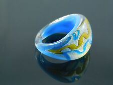 Beautiful Murano Glass Silver Foiled Lampwork Handmade Sky Blue Ring US 9""