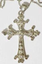 collier pendentif rétro croix couleur argent avec cristaux diamant 4538